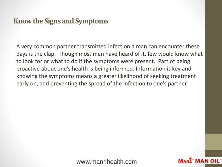 Know the signs and symptoms