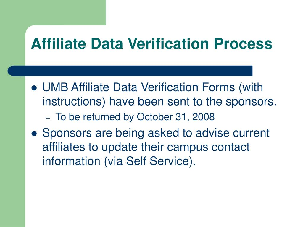 Affiliate Data Verification Process