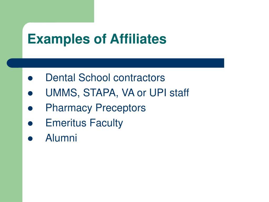 Examples of Affiliates