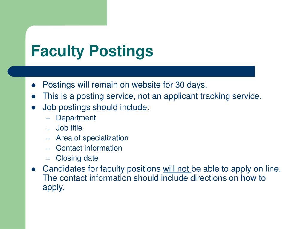 Faculty Postings