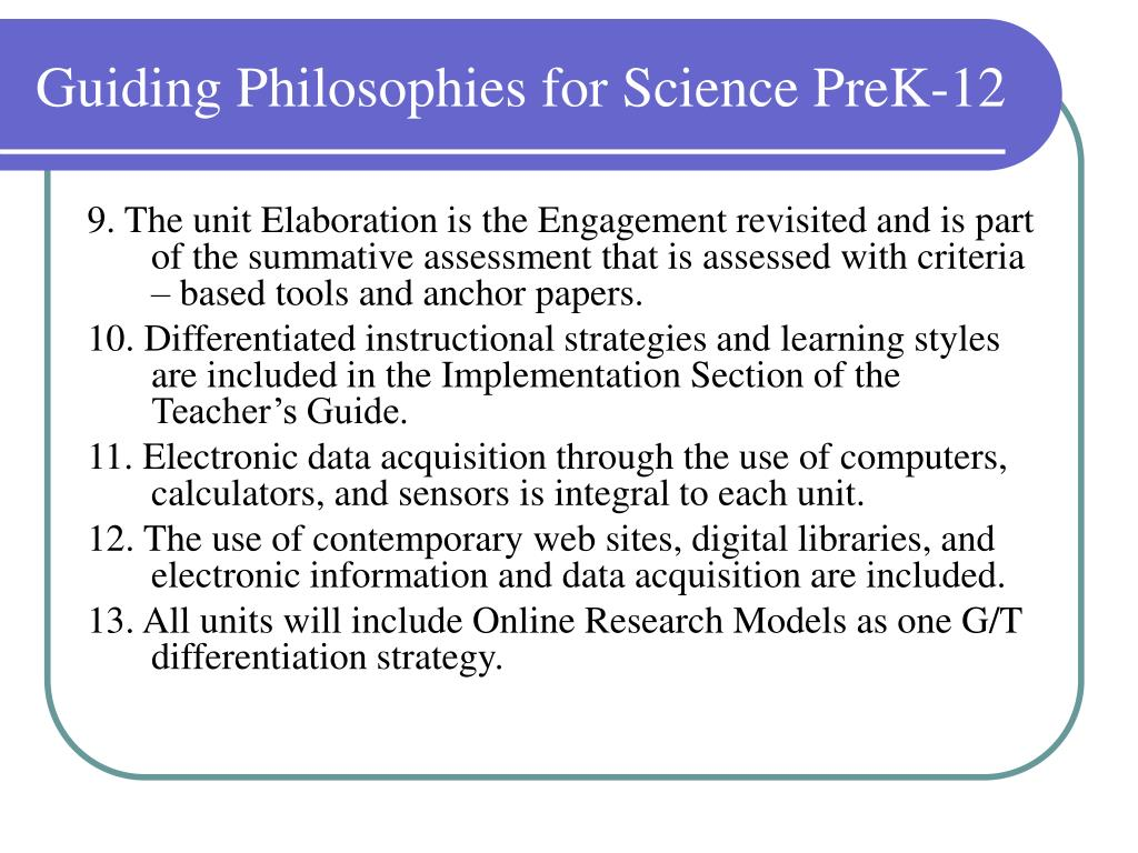Guiding Philosophies for Science PreK-12
