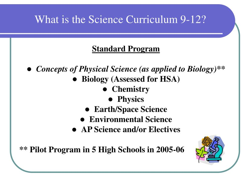 What is the Science Curriculum 9-12?
