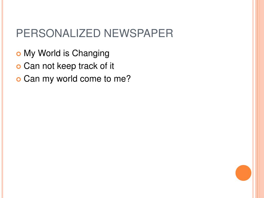 PERSONALIZED NEWSPAPER