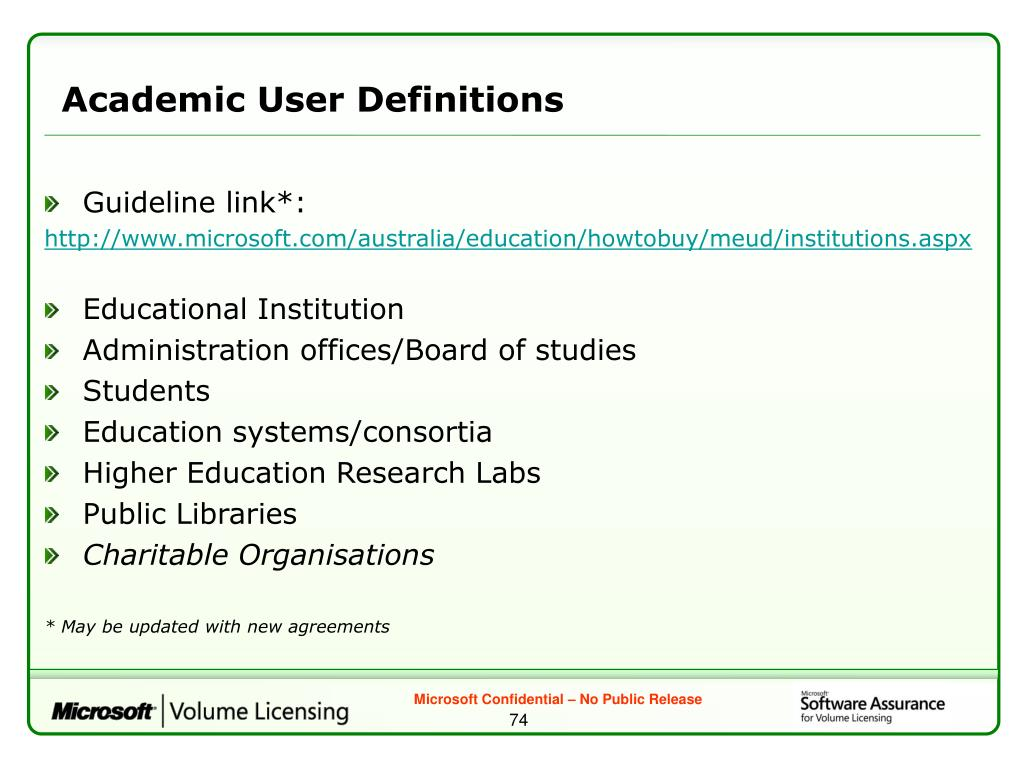 Academic User Definitions