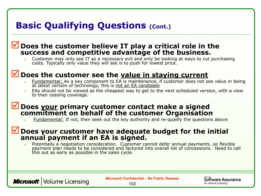 Basic Qualifying Questions