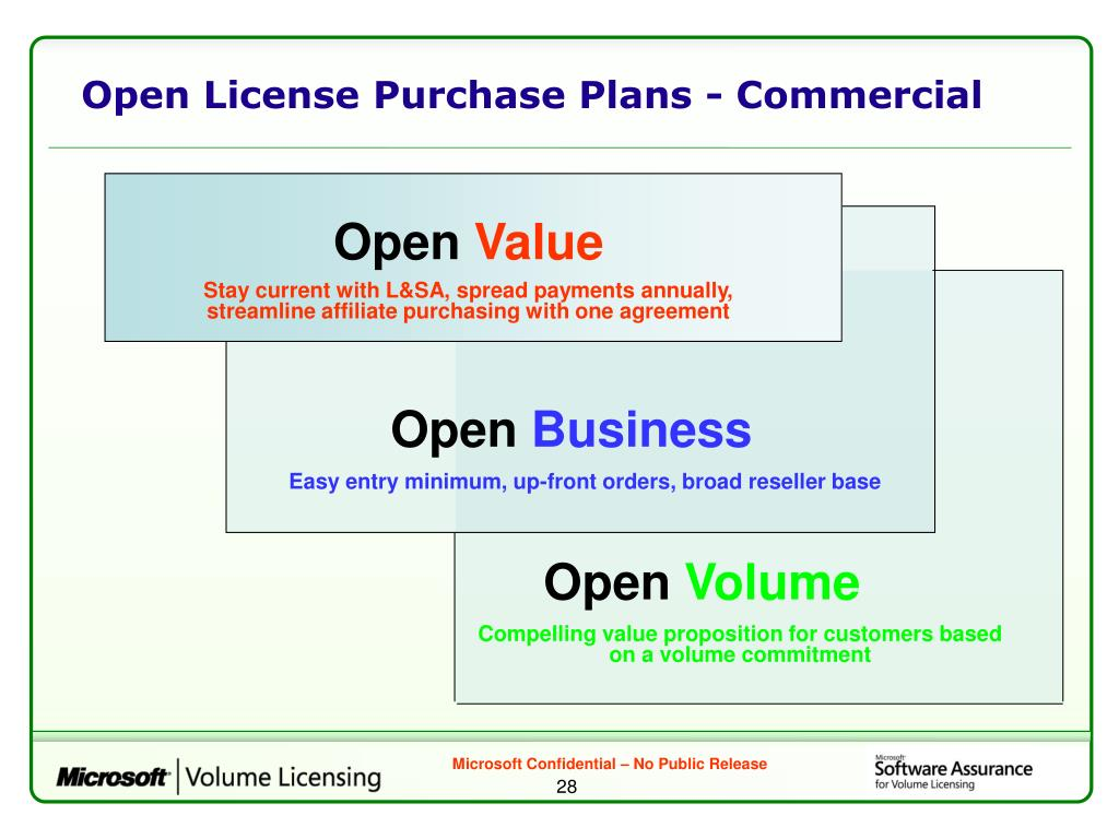 Open License Purchase Plans - Commercial