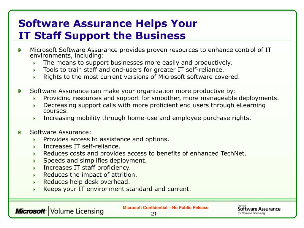 Software Assurance Helps Your