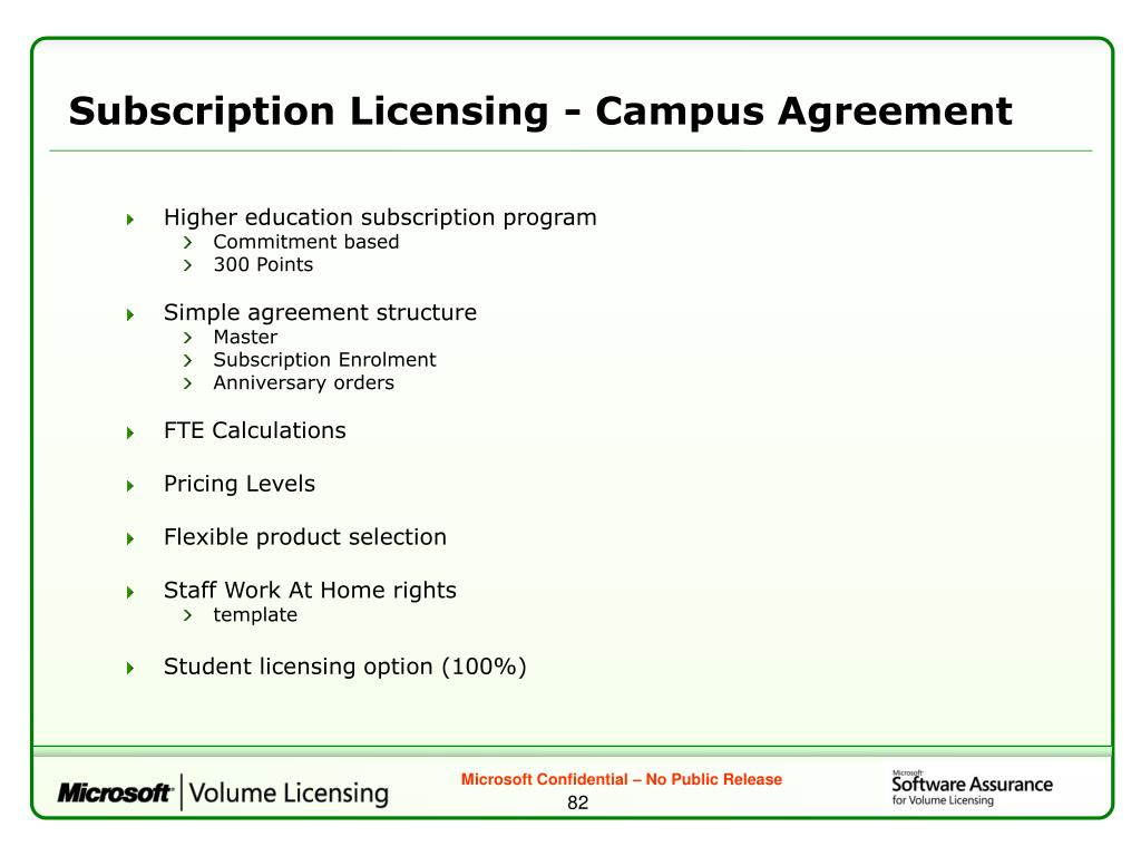 Subscription Licensing - Campus Agreement