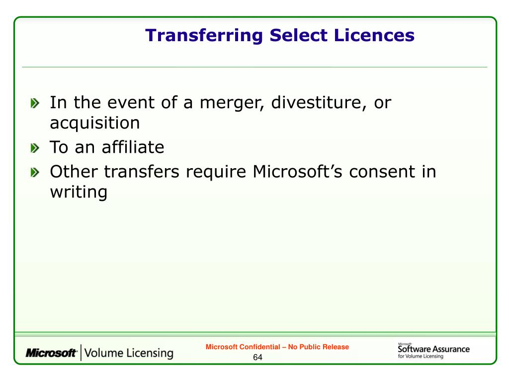 Transferring Select Licences