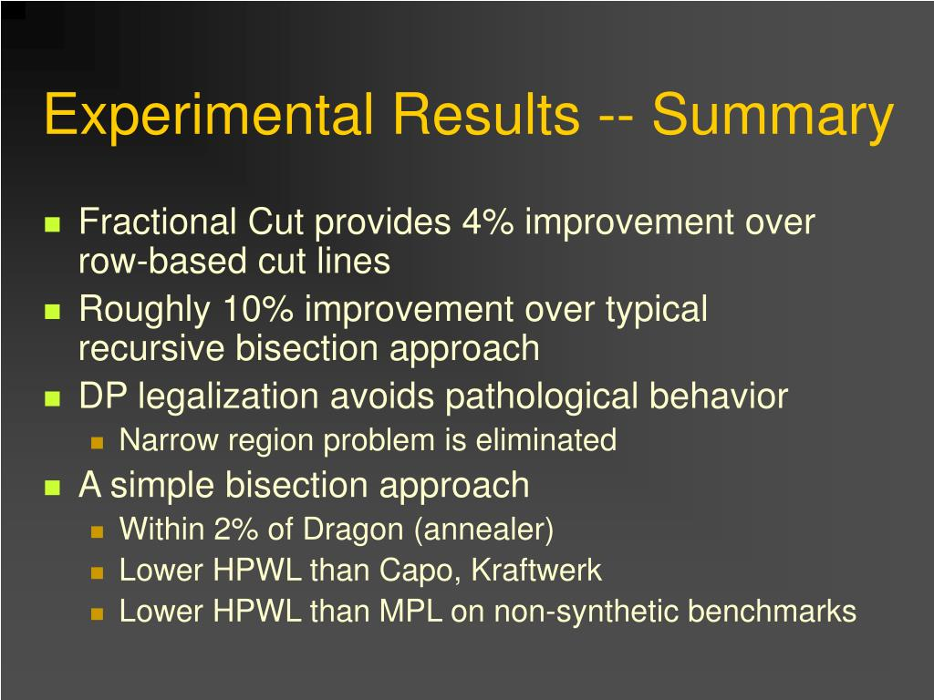 Experimental Results -- Summary