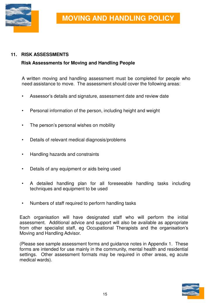 MOVING AND HANDLING POLICY