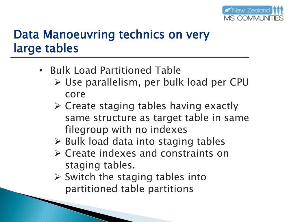 Data Manoeuvring technics on very large tables