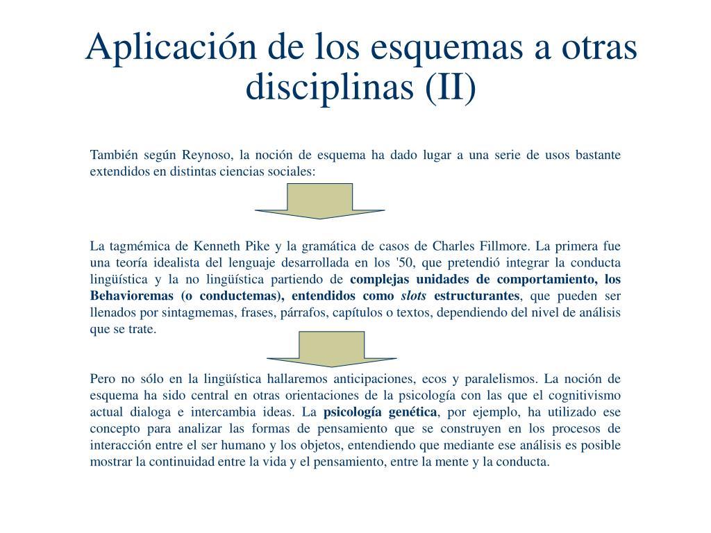 Aplicación de los esquemas a otras disciplinas (II)