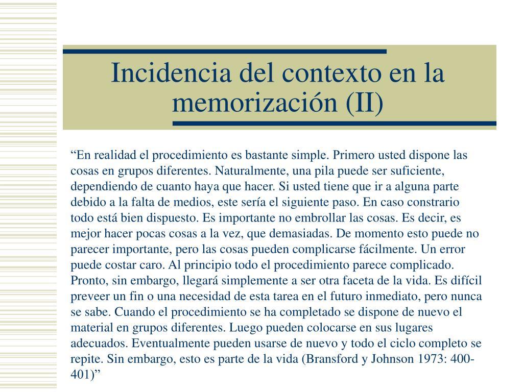 Incidencia del contexto en la memorización (II)