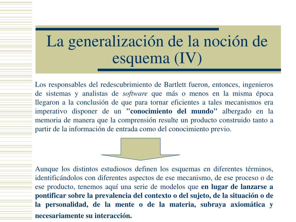 La generalización de la noción de esquema (IV)