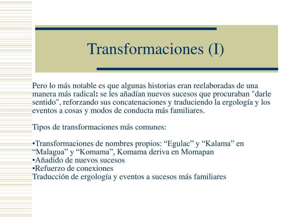 Transformaciones (I)