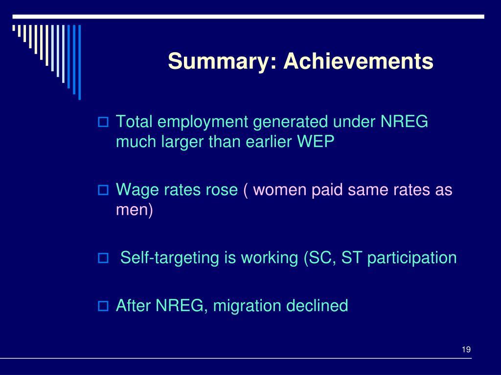 Summary: Achievements