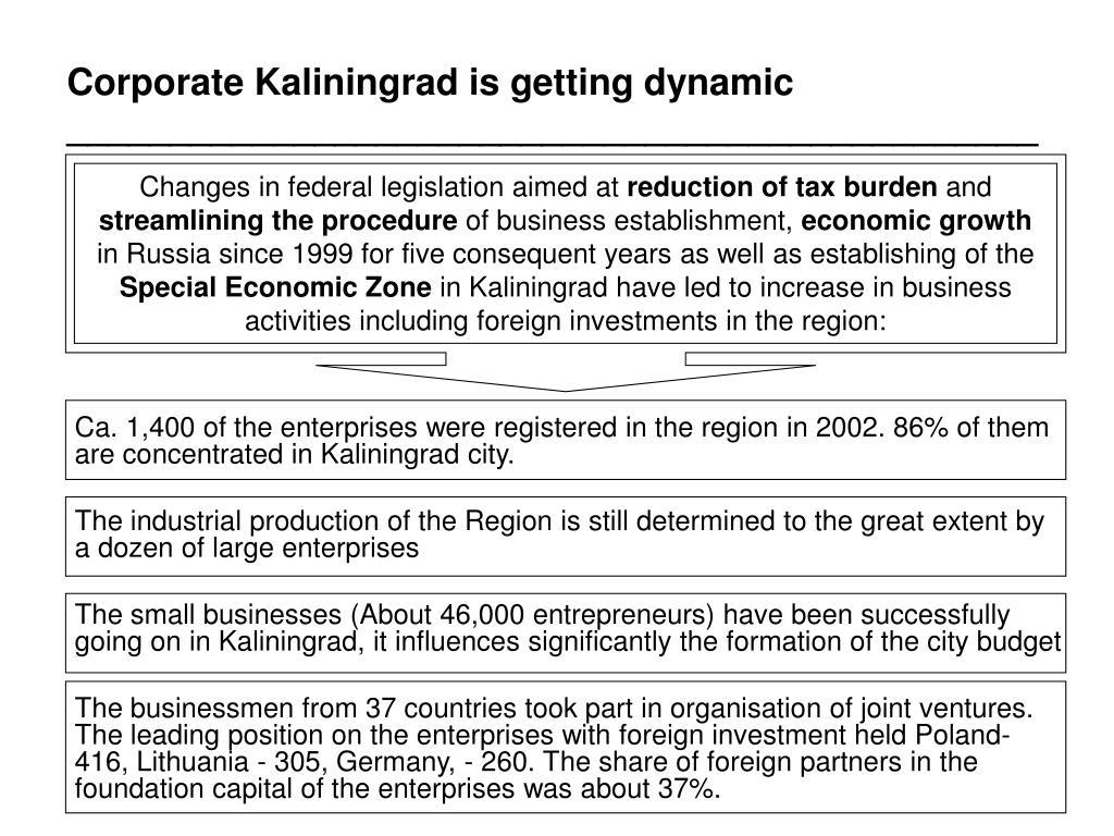 Corporate Kaliningrad is getting dynamic