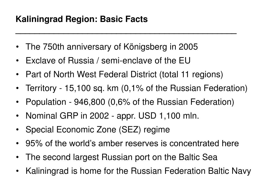 Kaliningrad Region: Basic Facts