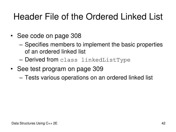 Header File of the Ordered Linked List