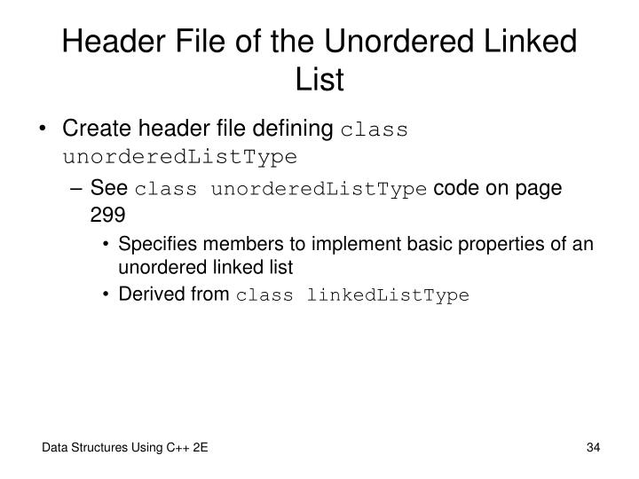 Header File of the Unordered Linked List