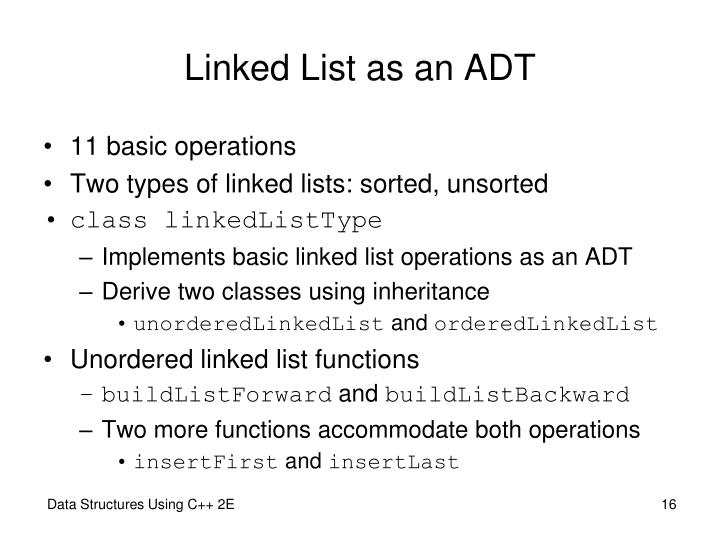 Linked List as an ADT