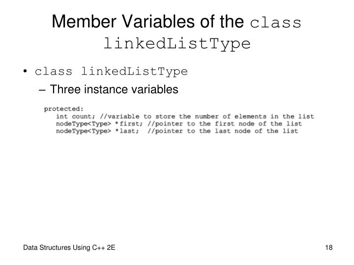 Member Variables of the