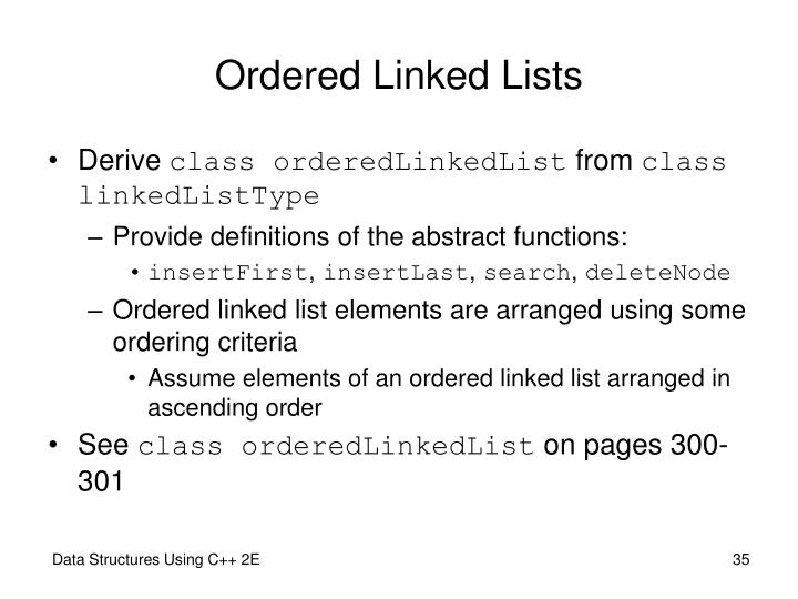 Ordered Linked Lists