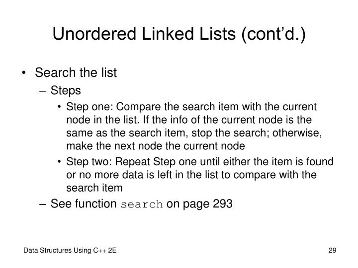 Unordered Linked Lists (cont'd.)
