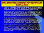 otra oportunidad perdida por bolivia para salir al mar