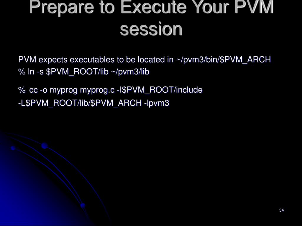 Prepare to Execute Your PVM session