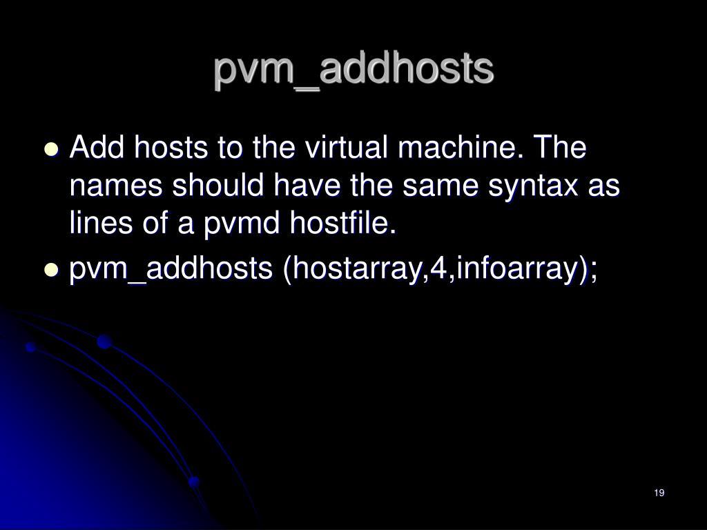 pvm_addhosts
