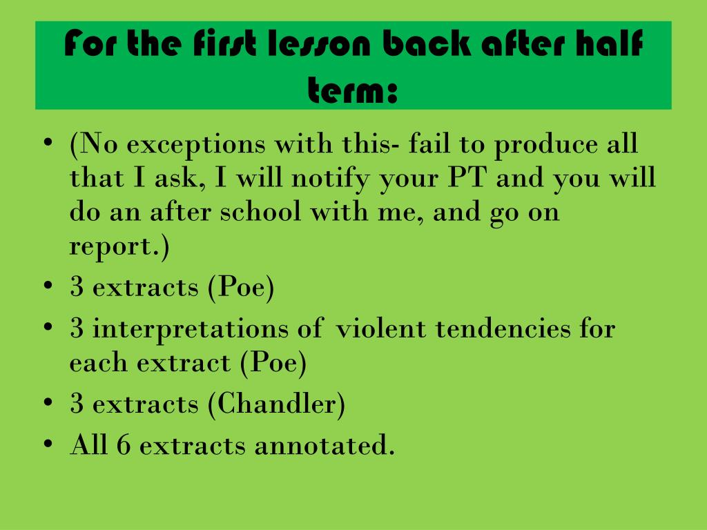 For the first lesson back after half term: