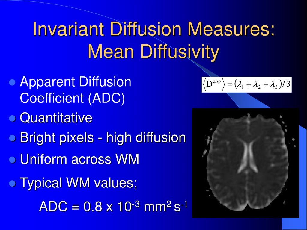 Invariant Diffusion Measures: Mean Diffusivity