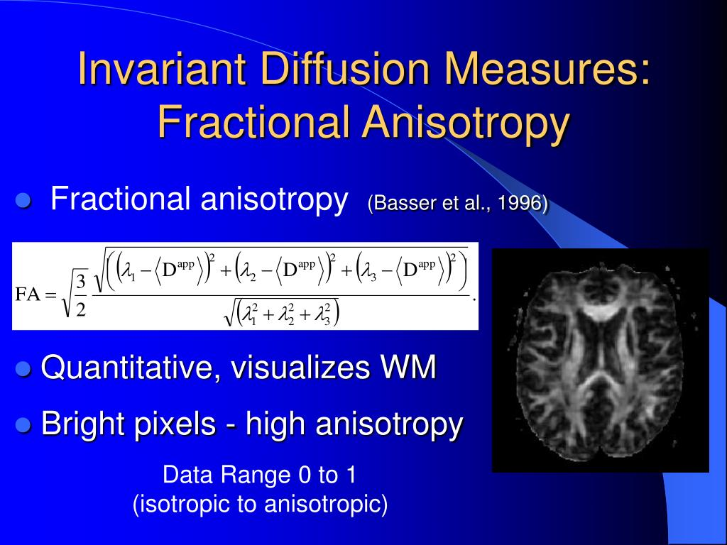 Invariant Diffusion Measures: Fractional Anisotropy