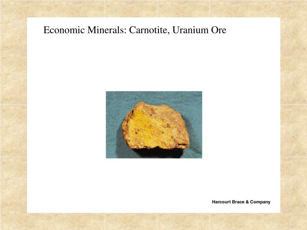 Economic Minerals: Carnotite, Uranium Ore
