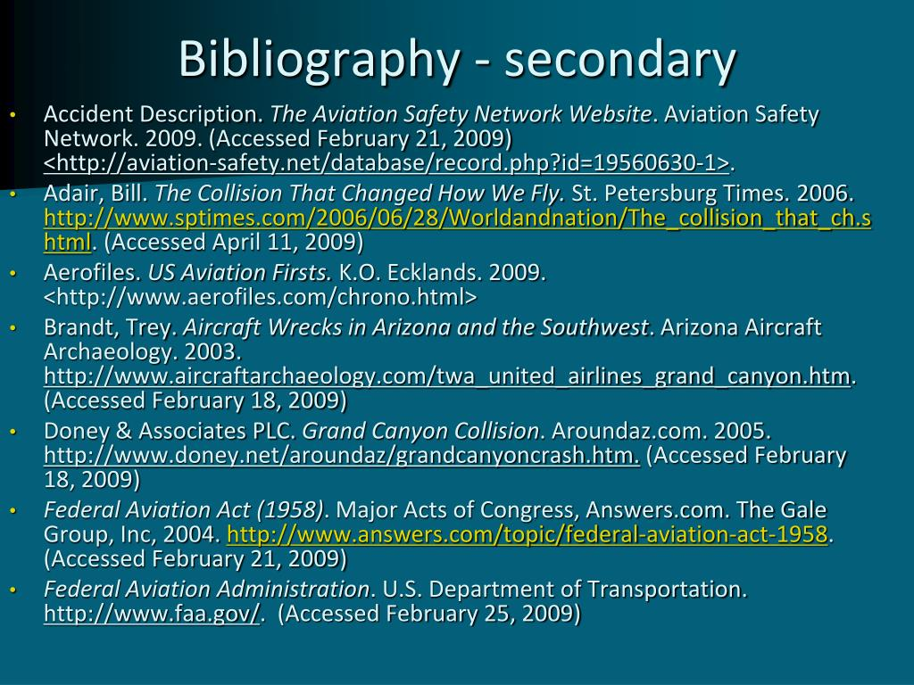 Bibliography - secondary