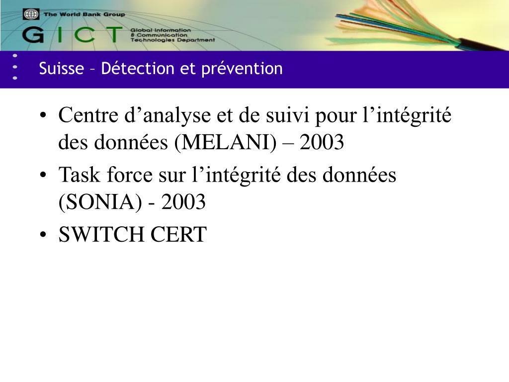 Suisse – Détection et prévention