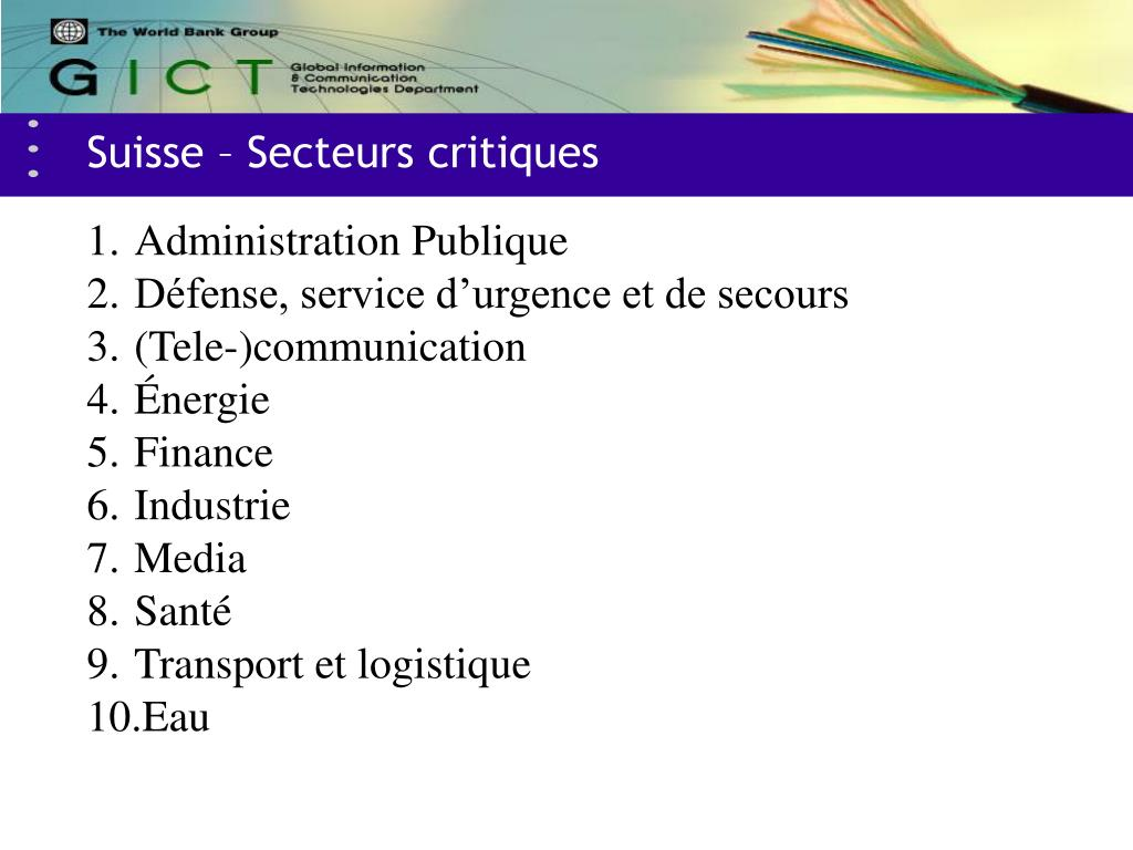 Suisse – Secteurs critiques