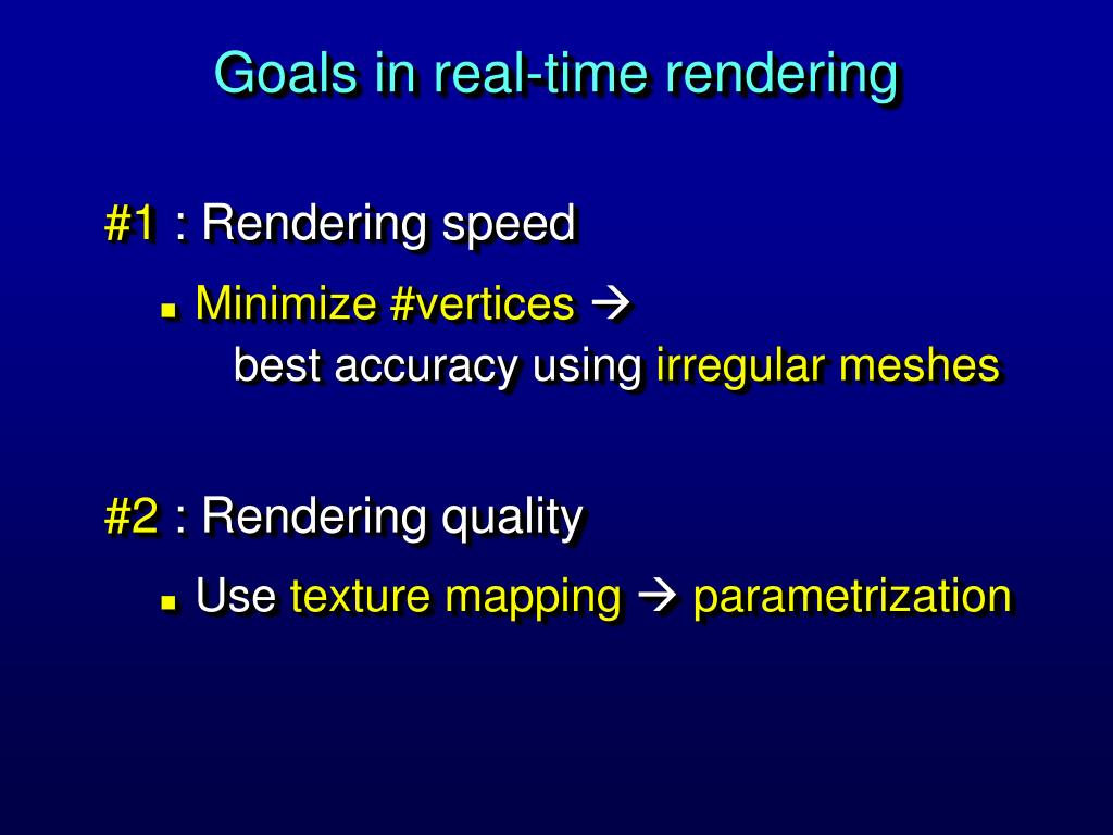 Goals in real-time rendering