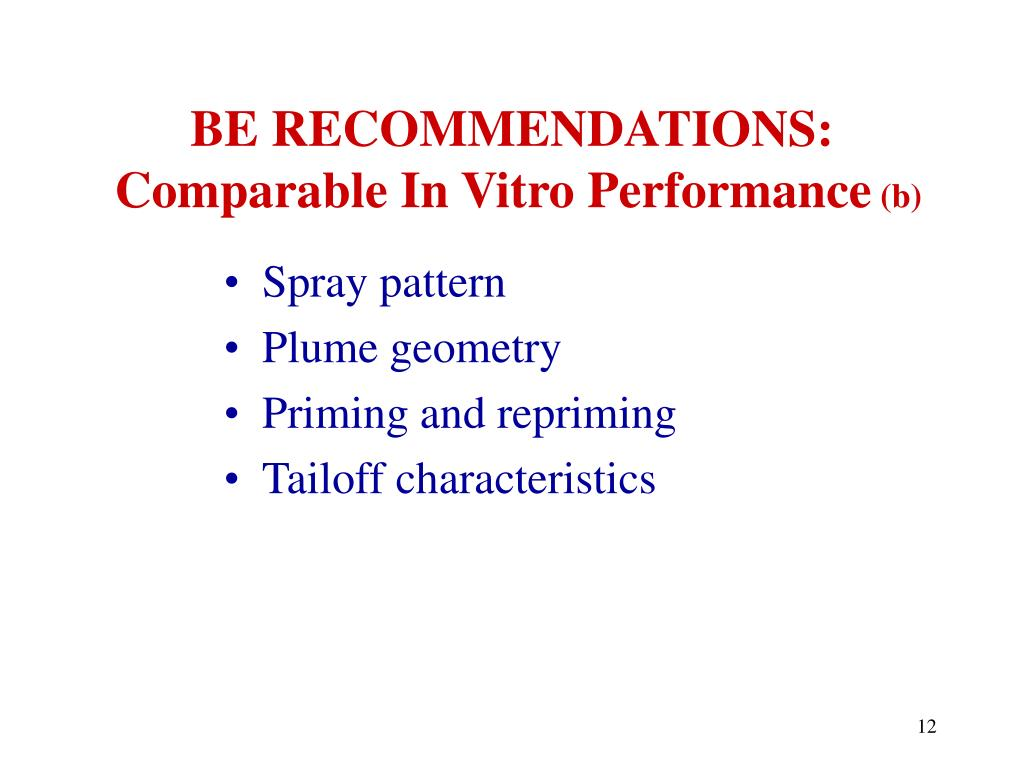 BE RECOMMENDATIONS: