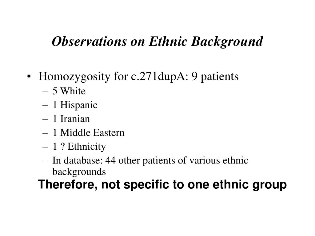 Observations on Ethnic Background