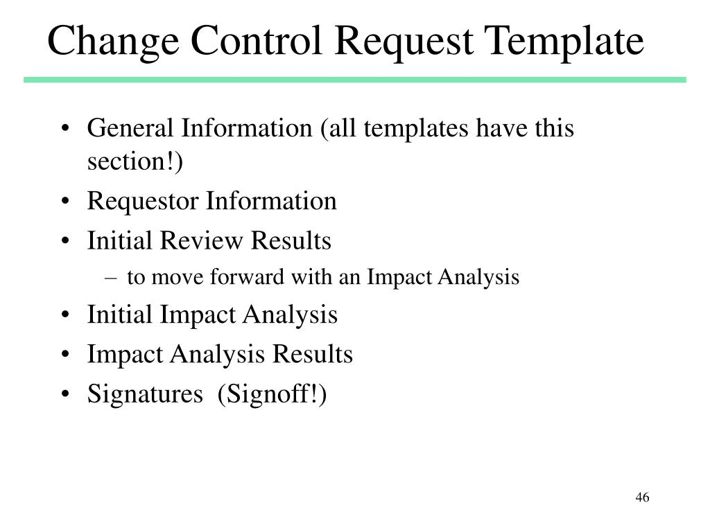 Change Control Request Template
