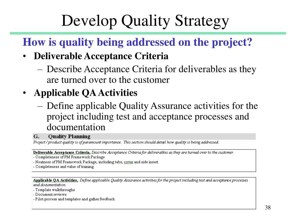 Develop Quality Strategy