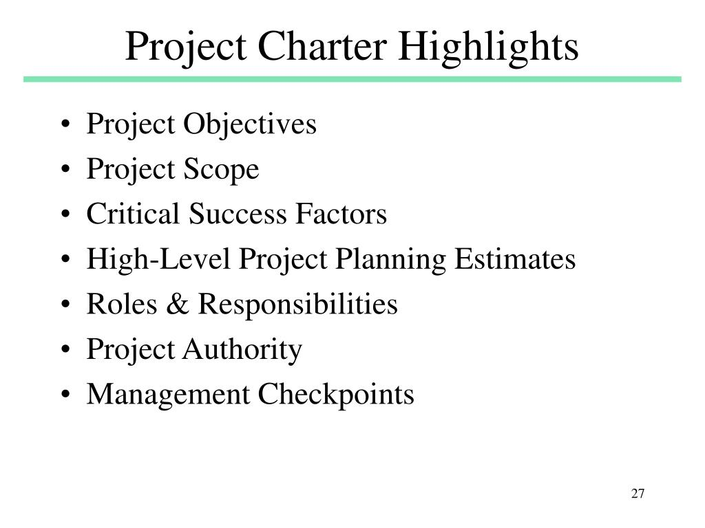 Project Charter Highlights