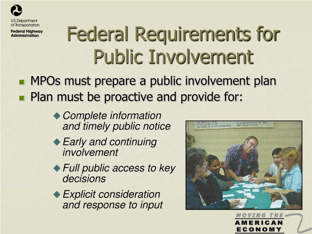 Federal Requirements for Public Involvement