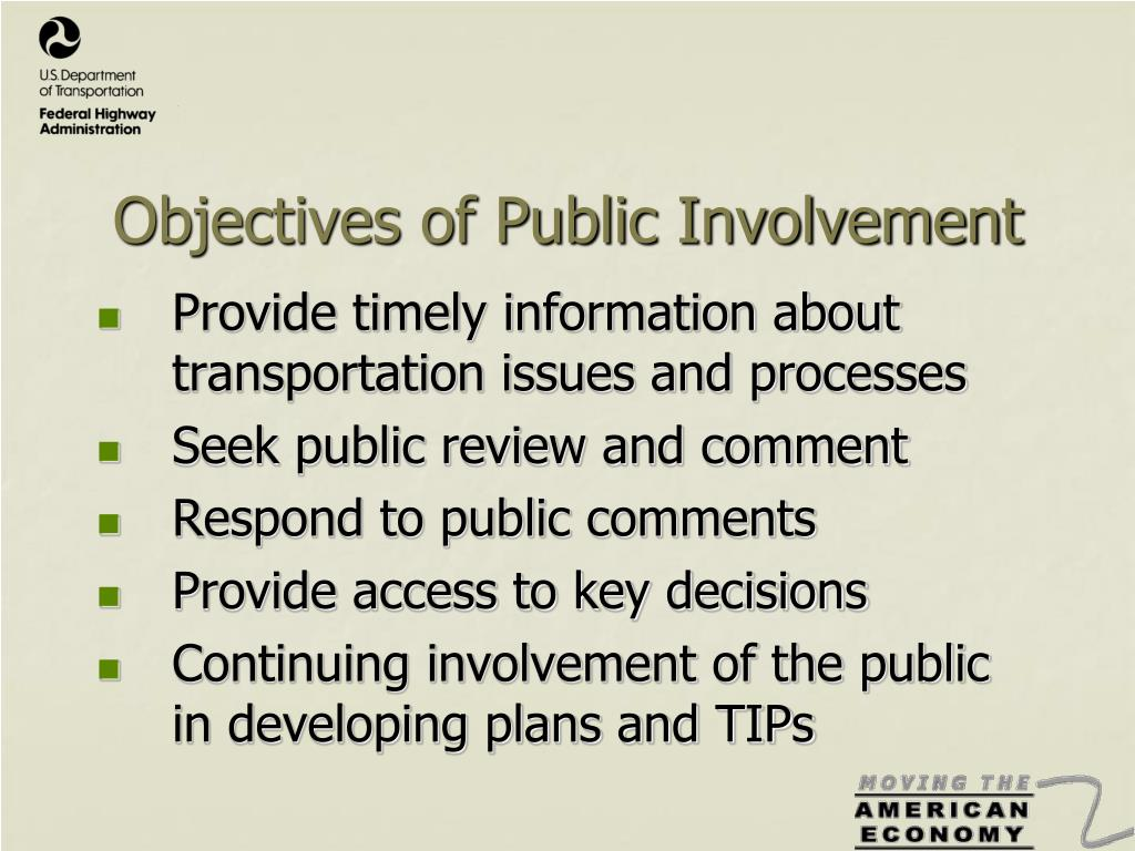 Objectives of Public Involvement
