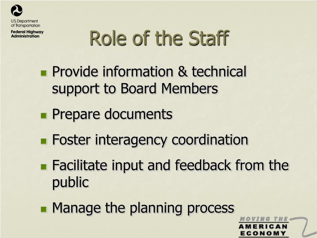 Role of the Staff