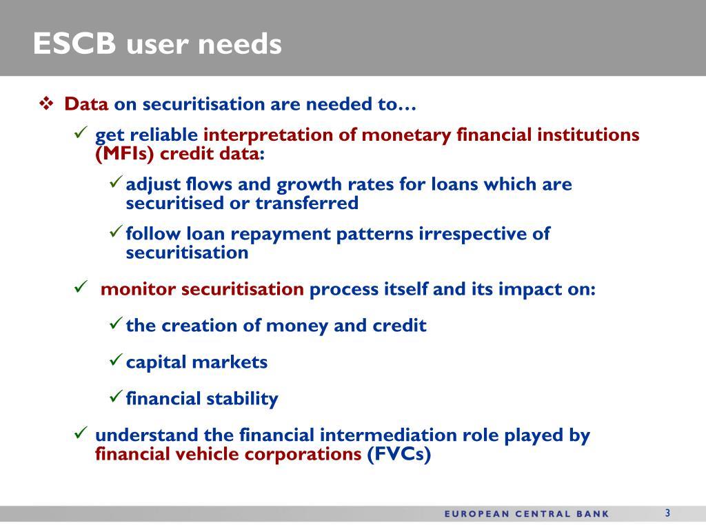 ESCB user needs