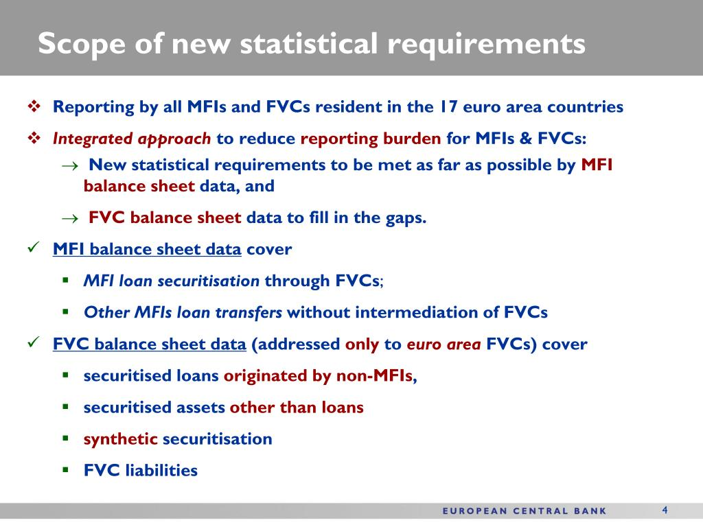 Scope of new statistical requirements